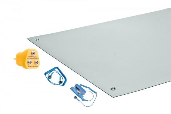 ESD-Matten-Set Platingrau mit Erdungskabel ESD-Armband Erdungsstecker