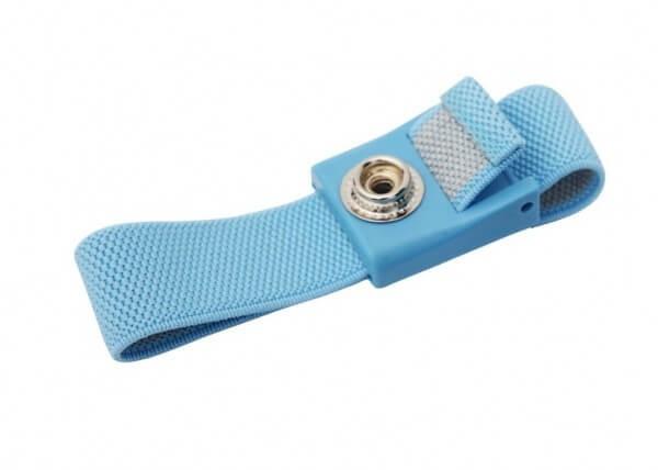 ESD Armband anti-allergisch Druckknopf 4mm hellblau